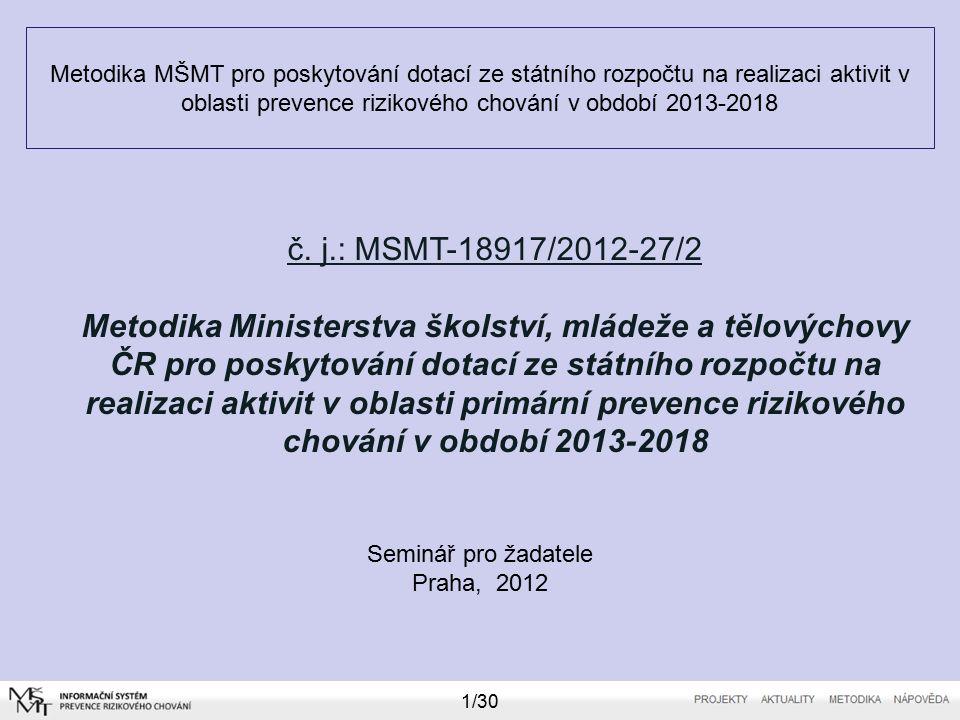 Metodika MŠMT pro poskytování dotací ze státního rozpočtu na realizaci aktivit v oblasti prevence rizikového chování v období 2013-2018 Seminář pro žadatele Praha, 2012 1/30 č.