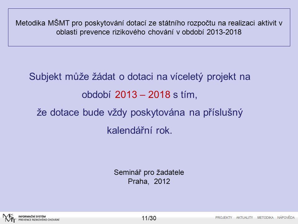 Metodika MŠMT pro poskytování dotací ze státního rozpočtu na realizaci aktivit v oblasti prevence rizikového chování v období 2013-2018 Seminář pro žadatele Praha, 2012 11/30 Subjekt může žádat o dotaci na víceletý projekt na období 2013 – 2018 s tím, že dotace bude vždy poskytována na příslušný kalendářní rok.
