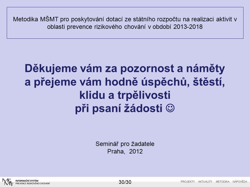 Metodika MŠMT pro poskytování dotací ze státního rozpočtu na realizaci aktivit v oblasti prevence rizikového chování v období 2013-2018 Seminář pro žadatele Praha, 2012 30/30 Děkujeme vám za pozornost a náměty a přejeme vám hodně úspěchů, štěstí, klidu a trpělivosti při psaní žádosti