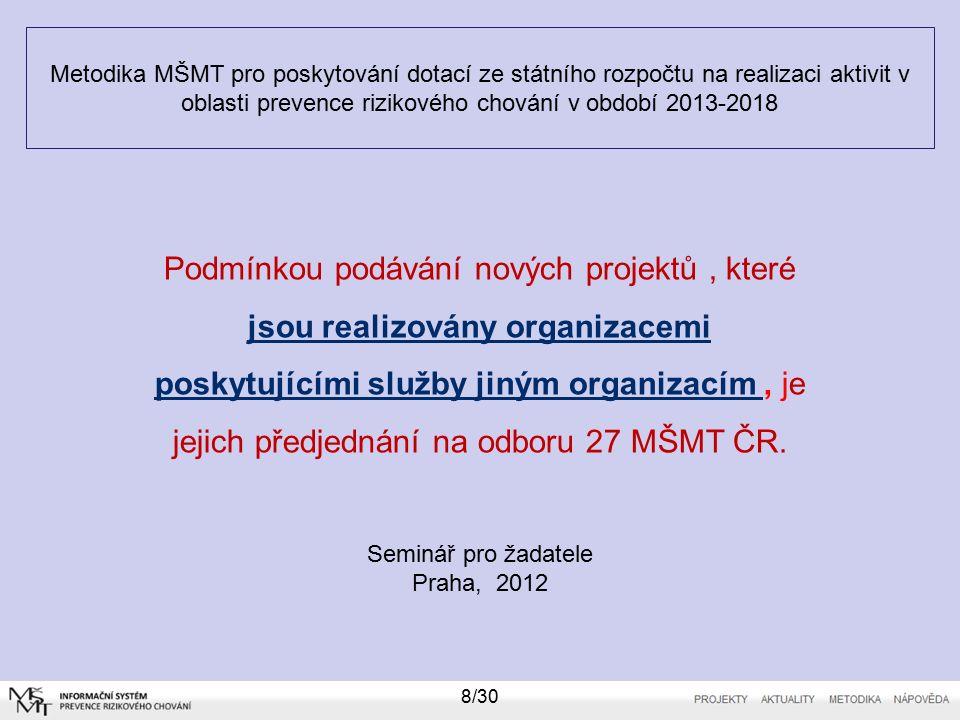 Metodika MŠMT pro poskytování dotací ze státního rozpočtu na realizaci aktivit v oblasti prevence rizikového chování v období 2013-2018 19/30 Z poskytnuté dotace se nesmí hradit (tzv.