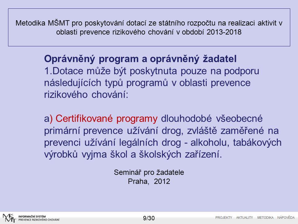 Metodika MŠMT pro poskytování dotací ze státního rozpočtu na realizaci aktivit v oblasti prevence rizikového chování v období 2013-2018 Seminář pro žadatele Praha, 2012 10/30 Oprávněný program a oprávněný žadatel b) Programy nepodléhající certifikaci: - programy dlouhodobé všeobecné primární prevence rizikového chování) - projekty evaluace potřebnosti, dostupnosti a efektivnosti služeb, projekty zaměřené na poskytování odborných a ověřených informací odborné či laické veřejnosti.