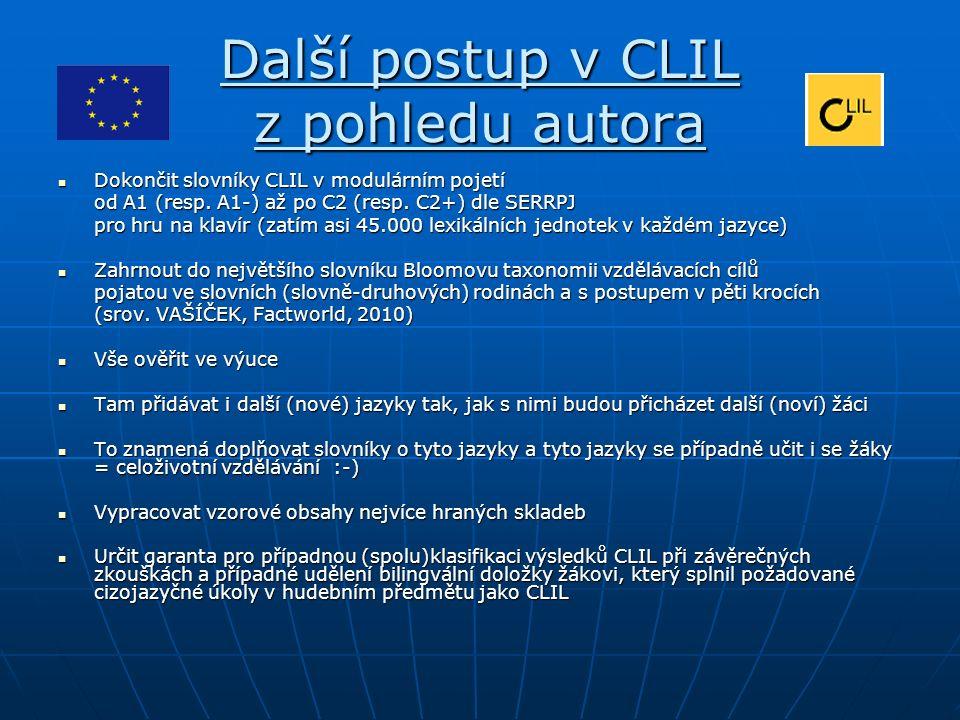 Další postup v CLIL z pohledu autora Dokončit slovníky CLIL v modulárním pojetí Dokončit slovníky CLIL v modulárním pojetí od A1 (resp.