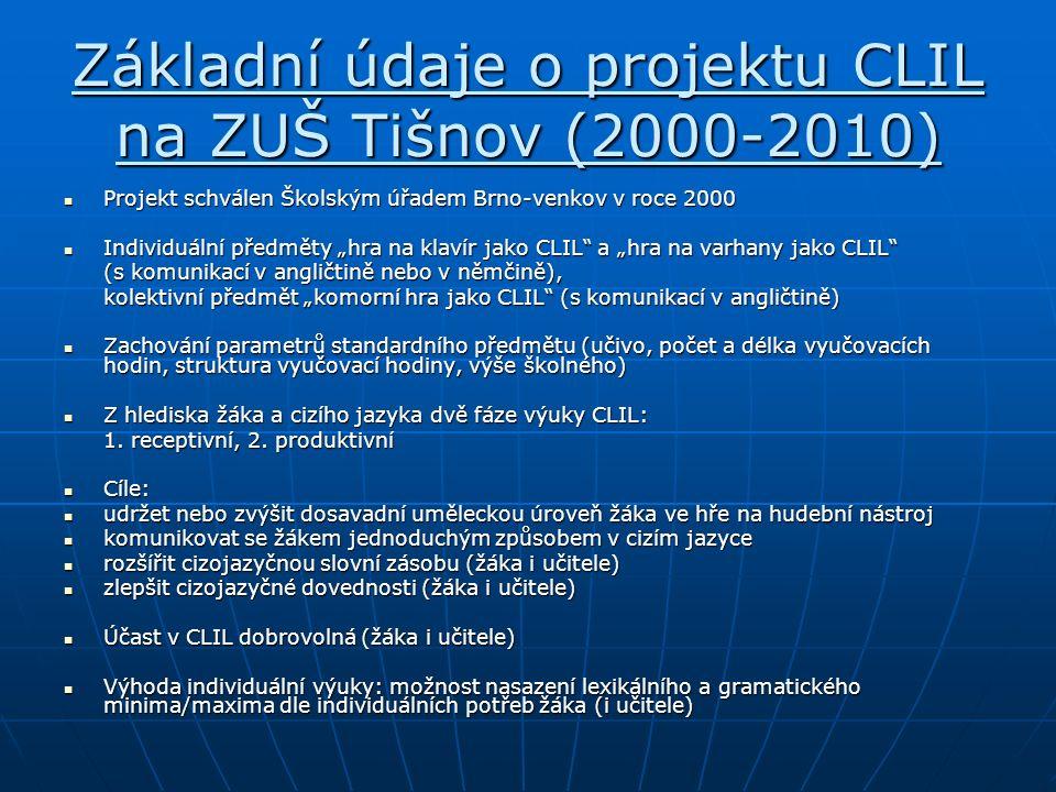 """Základní údaje o projektu CLIL na ZUŠ Tišnov (2000-2010) Projekt schválen Školským úřadem Brno-venkov v roce 2000 Projekt schválen Školským úřadem Brno-venkov v roce 2000 Individuální předměty """"hra na klavír jako CLIL a """"hra na varhany jako CLIL Individuální předměty """"hra na klavír jako CLIL a """"hra na varhany jako CLIL (s komunikací v angličtině nebo v němčině), kolektivní předmět """"komorní hra jako CLIL (s komunikací v angličtině) Zachování parametrů standardního předmětu (učivo, počet a délka vyučovacích hodin, struktura vyučovací hodiny, výše školného) Zachování parametrů standardního předmětu (učivo, počet a délka vyučovacích hodin, struktura vyučovací hodiny, výše školného) Z hlediska žáka a cizího jazyka dvě fáze výuky CLIL: Z hlediska žáka a cizího jazyka dvě fáze výuky CLIL: 1."""
