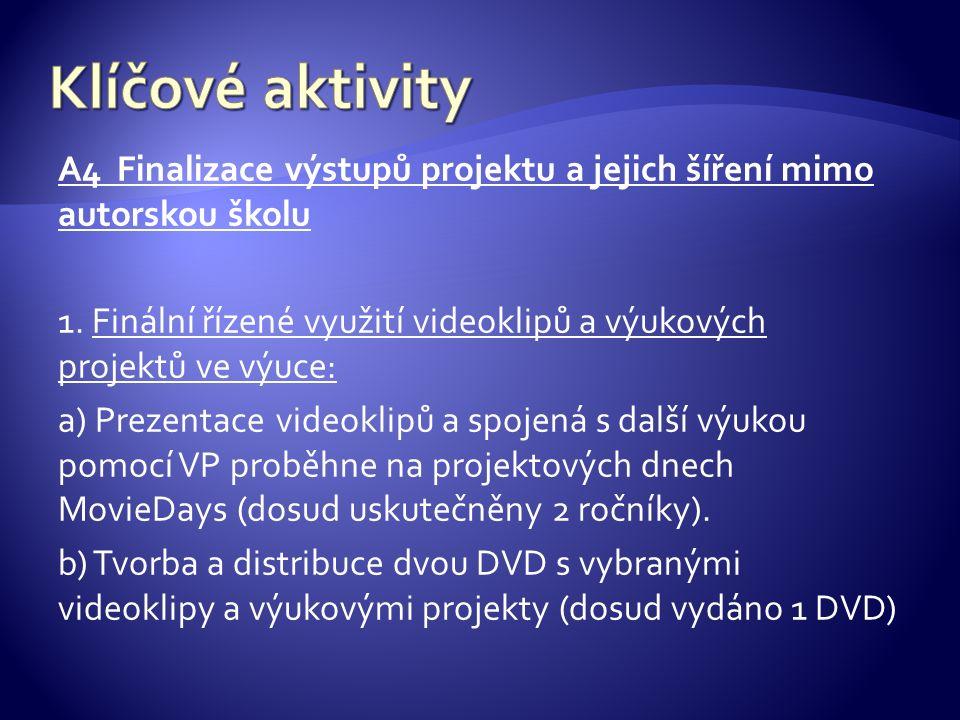 A4 Finalizace výstupů projektu a jejich šíření mimo autorskou školu 1.
