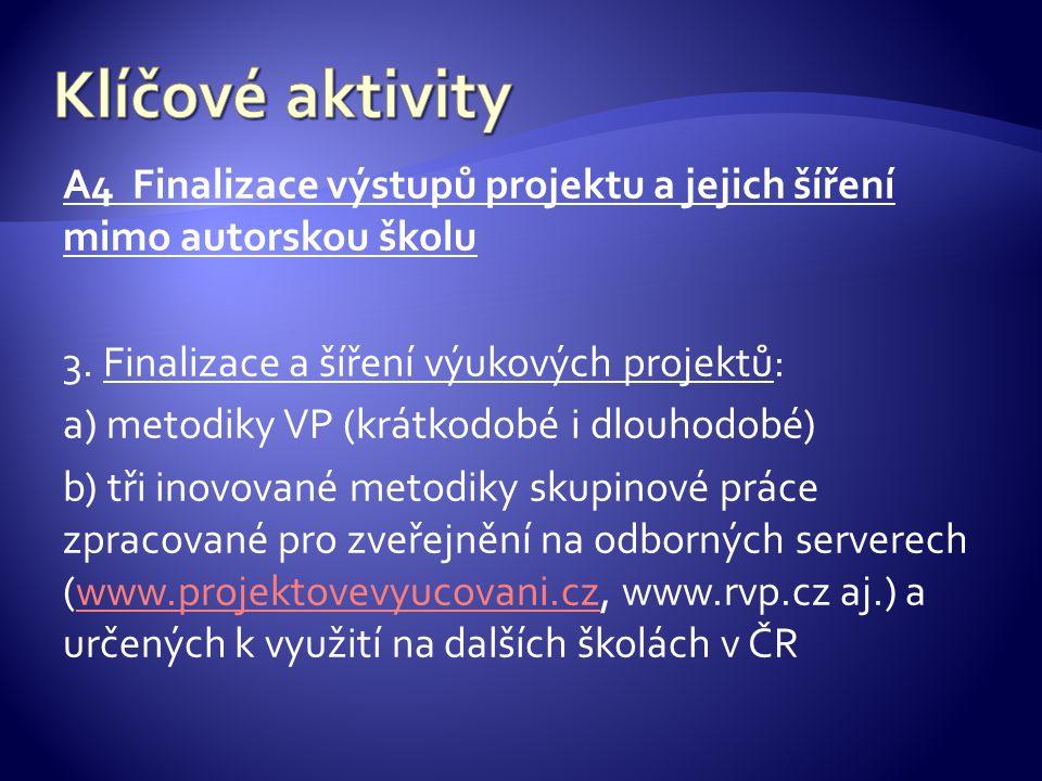 A4 Finalizace výstupů projektu a jejich šíření mimo autorskou školu 3.