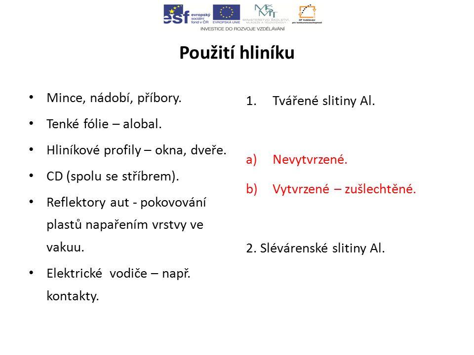 Slitiny a sloučeniny hliníku Dural Slitina Al, Cu, Mg, Mn.