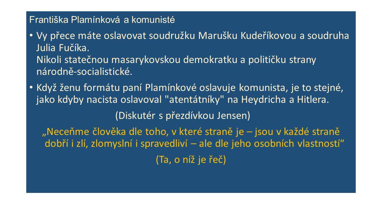Františka Plamínková a komunisté Vy přece máte oslavovat soudružku Marušku Kudeříkovou a soudruha Julia Fučíka.