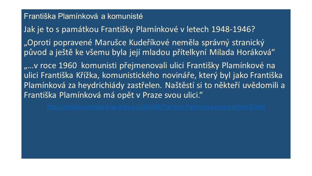 Františka Plamínková a komunisté Jak je to s památkou Františky Plamínkové v letech 1948-1946.