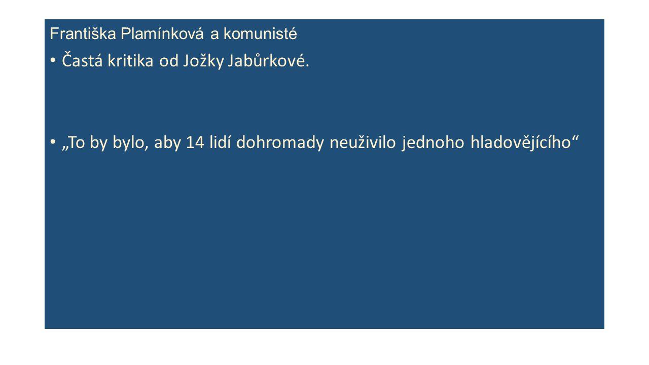 Františka Plamínková a komunisté Častá kritika od Jožky Jabůrkové.