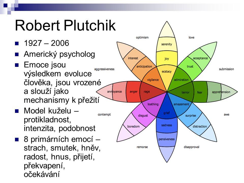 Robert Plutchik 1927 – 2006 Americký psycholog Emoce jsou výsledkem evoluce člověka, jsou vrozené a slouží jako mechanismy k přežití Model kuželu – protikladnost, intenzita, podobnost 8 primárních emocí – strach, smutek, hněv, radost, hnus, přijetí, překvapení, očekávání