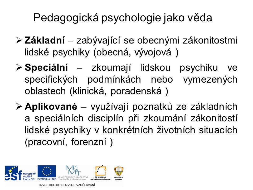  Základní – zabývající se obecnými zákonitostmi lidské psychiky (obecná, vývojová )  Speciální – zkoumají lidskou psychiku ve specifických podmínkách nebo vymezených oblastech (klinická, poradenská )  Aplikované – využívají poznatků ze základních a speciálních disciplín při zkoumání zákonitostí lidské psychiky v konkrétních životních situacích (pracovní, forenzní ) Pedagogická psychologie jako věda