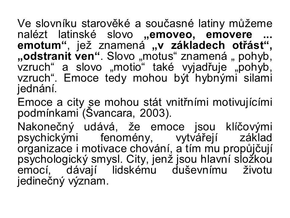 """Ve slovníku starověké a současné latiny můžeme nalézt latinské slovo """"emoveo, emovere... emotum"""", jež znamená """"v základech otřást"""", """"odstranit ven"""". S"""