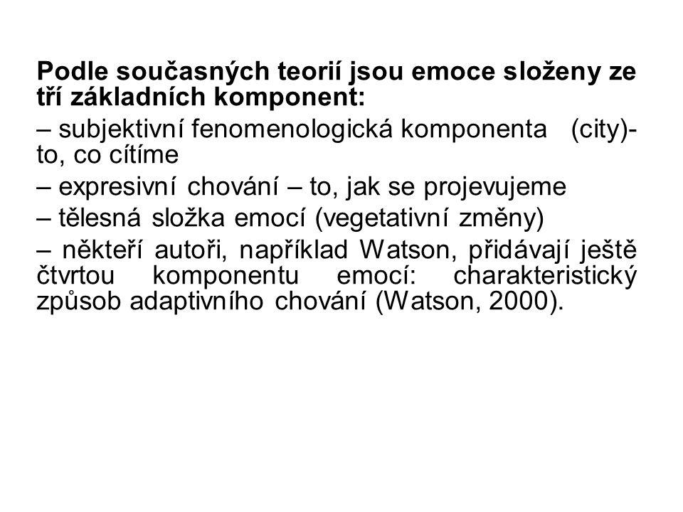 Podle současných teorií jsou emoce složeny ze tří základních komponent: – subjektivní fenomenologická komponenta (city)- to, co cítíme – expresivní chování – to, jak se projevujeme – tělesná složka emocí (vegetativní změny) – někteří autoři, například Watson, přidávají ještě čtvrtou komponentu emocí: charakteristický způsob adaptivního chování (Watson, 2000).