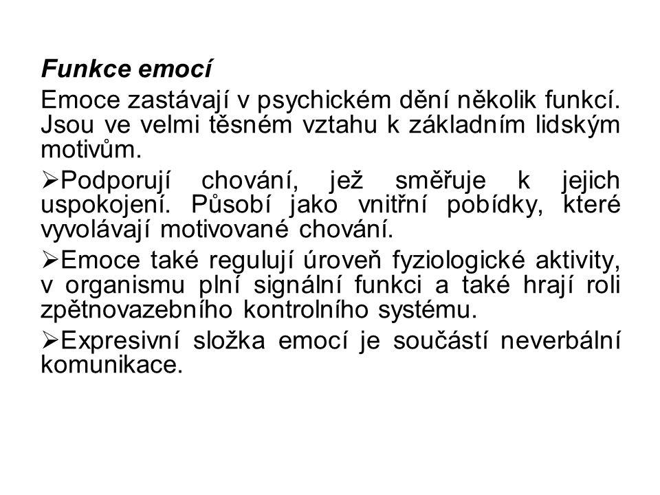 Funkce emocí Emoce zastávají v psychickém dění několik funkcí. Jsou ve velmi těsném vztahu k základním lidským motivům.  Podporují chování, jež směřu