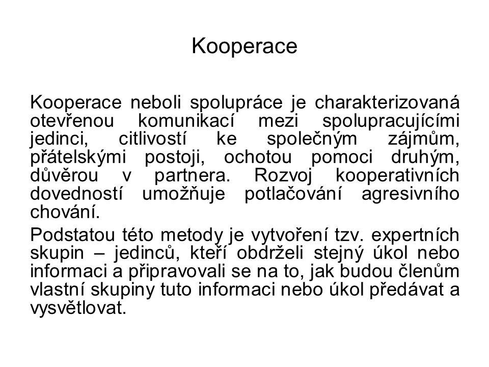 Kooperace Kooperace neboli spolupráce je charakterizovaná otevřenou komunikací mezi spolupracujícími jedinci, citlivostí ke společným zájmům, přátelsk