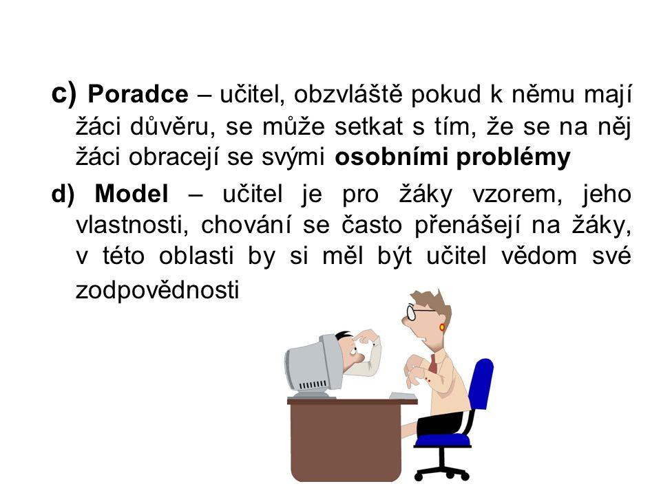 c) Poradce – učitel, obzvláště pokud k němu mají žáci důvěru, se může setkat s tím, že se na něj žáci obracejí se svými osobními problémy d) Model – u