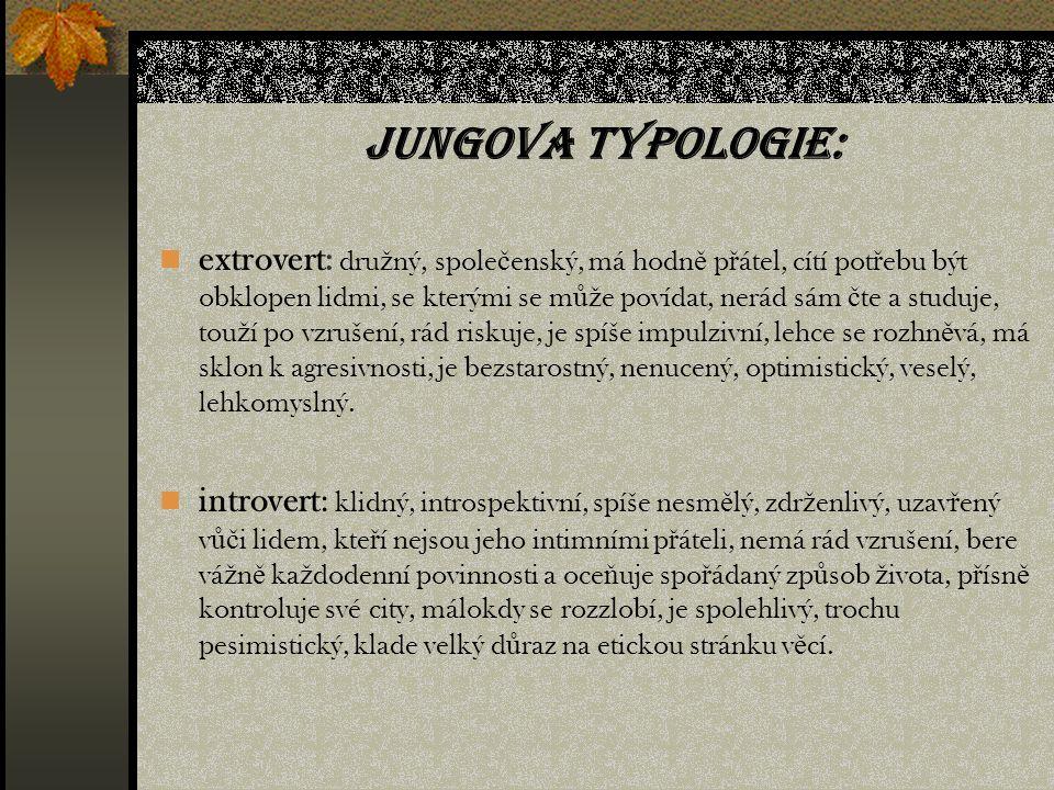 Jungova typologie: extrovert: dru ž ný, spole č enský, má hodn ě p ř átel, cítí pot ř ebu být obklopen lidmi, se kterými se m ůž e povídat, nerád sám č te a studuje, tou ž í po vzrušení, rád riskuje, je spíše impulzivní, lehce se rozhn ě vá, má sklon k agresivnosti, je bezstarostný, nenucený, optimistický, veselý, lehkomyslný.