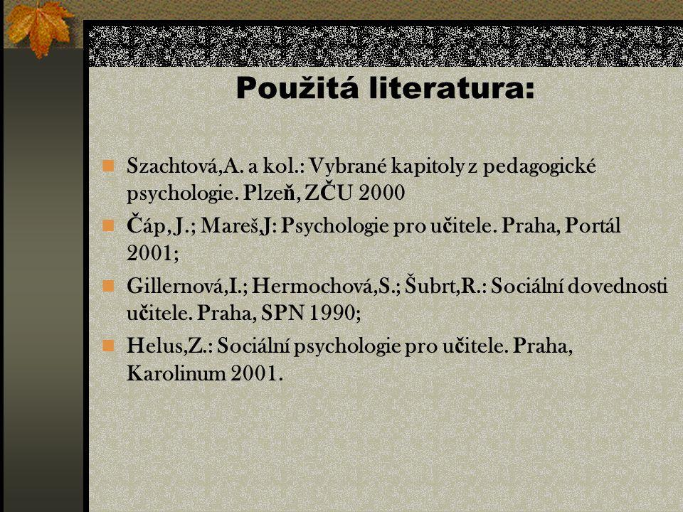 Použitá literatura: Szachtová,A. a kol.: Vybrané kapitoly z pedagogické psychologie.
