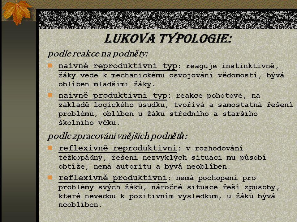 Learyho typologie: Autokratická osobnost; Egocentrický; Agresivní; Podezíravá; Ponížená; Hyperkonformní; Hyperafiliativní; Hyperprotektivní.