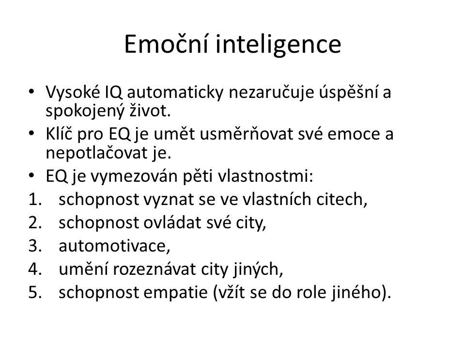 Emoční inteligence Vysoké IQ automaticky nezaručuje úspěšní a spokojený život.