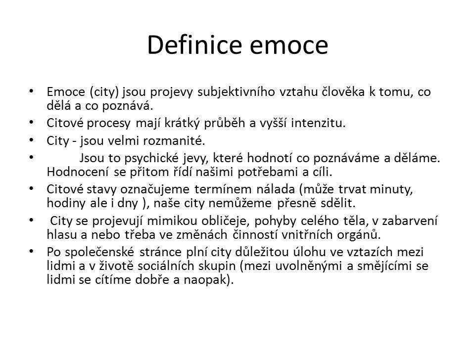Definice emoce Emoce (city) jsou projevy subjektivního vztahu člověka k tomu, co dělá a co poznává.
