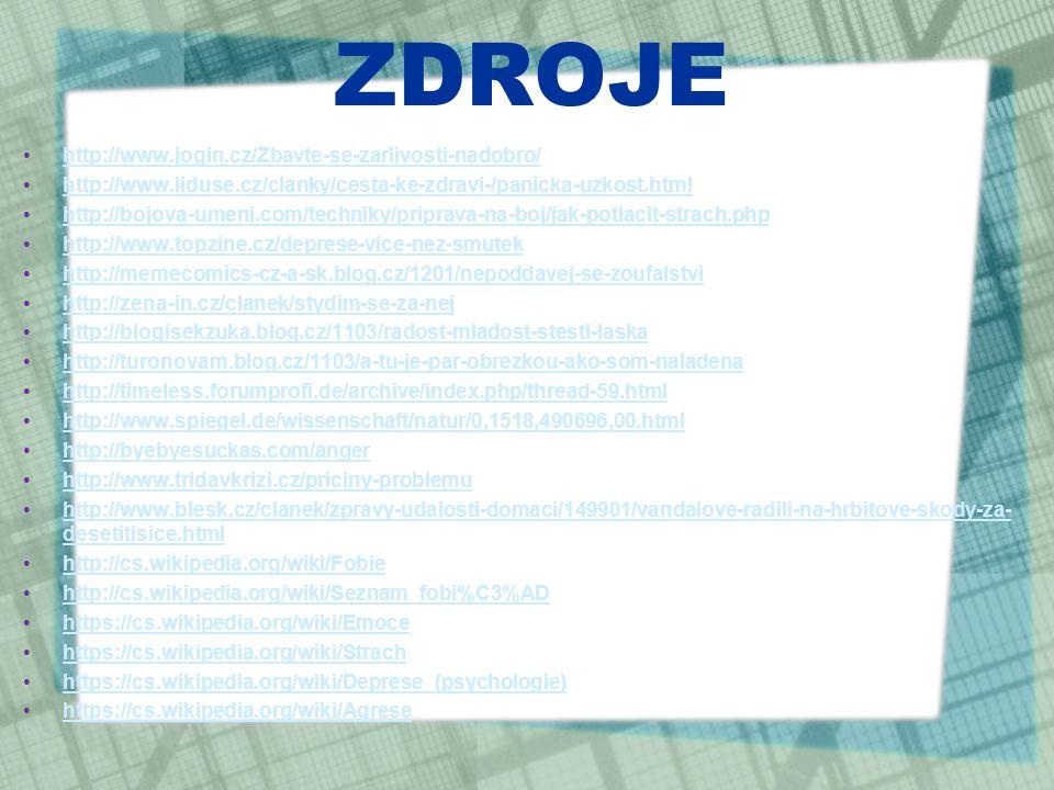 ZDROJE http://www.jogin.cz/Zbavte-se-zarlivosti-nadobro/ http://www.liduse.cz/clanky/cesta-ke-zdravi-/panicka-uzkost.html http://bojova-umeni.com/techniky/priprava-na-boj/jak-potlacit-strach.php http://www.topzine.cz/deprese-vice-nez-smutek http://memecomics-cz-a-sk.blog.cz/1201/nepoddavej-se-zoufalstvi http://zena-in.cz/clanek/stydim-se-za-nej http://blogisekzuka.blog.cz/1103/radost-mladost-stesti-laska http://turonovam.blog.cz/1103/a-tu-je-par-obrezkou-ako-som-naladena http://timeless.forumprofi.de/archive/index.php/thread-59.html http://www.spiegel.de/wissenschaft/natur/0,1518,490696,00.html http://byebyesuckas.com/anger http://www.tridavkrizi.cz/priciny-problemu http://www.blesk.cz/clanek/zpravy-udalosti-domaci/149901/vandalove-radili-na-hrbitove-skody-za- desetitisice.htmlhttp://www.blesk.cz/clanek/zpravy-udalosti-domaci/149901/vandalove-radili-na-hrbitove-skody-za- desetitisice.html http://cs.wikipedia.org/wiki/Fobie http://cs.wikipedia.org/wiki/Seznam_fobi%C3%AD https://cs.wikipedia.org/wiki/Emoce https://cs.wikipedia.org/wiki/Strach https://cs.wikipedia.org/wiki/Deprese_(psychologie) https://cs.wikipedia.org/wiki/Agrese
