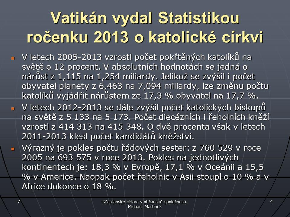 Vatikán vydal Statistikou ročenku 2013 o katolické církvi V letech 2005-2013 vzrostl počet pokřtěných katolíků na světě o 12 procent.