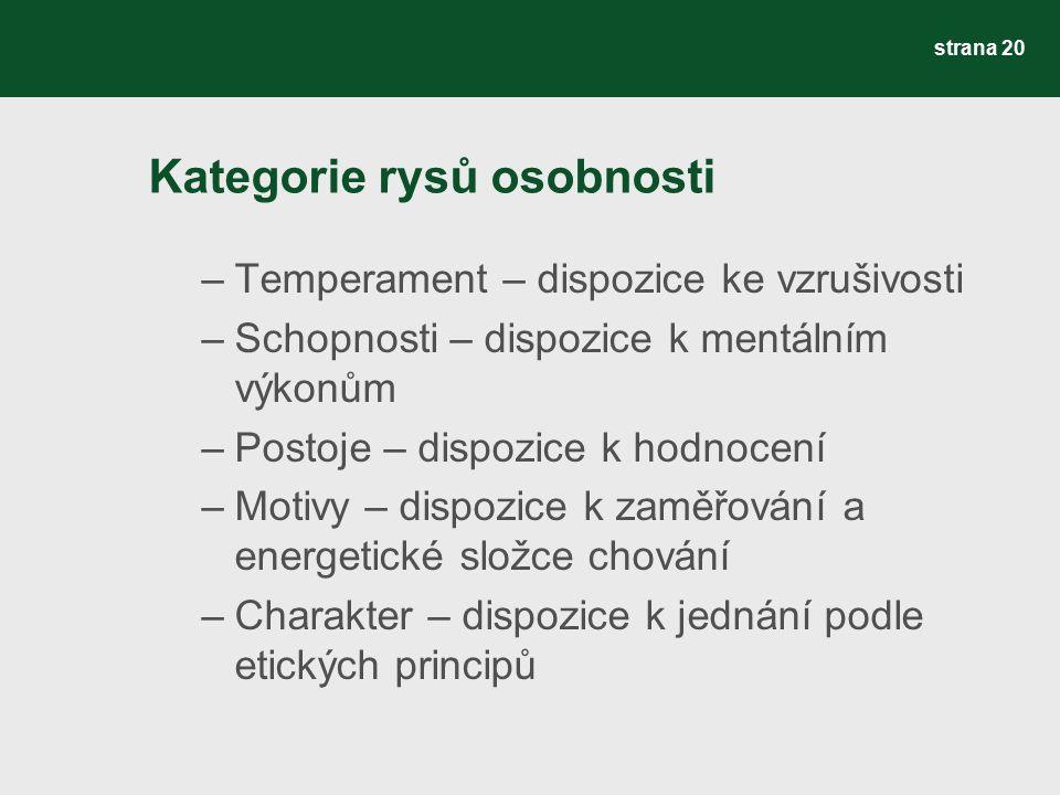 Kategorie rysů osobnosti –Temperament – dispozice ke vzrušivosti –Schopnosti – dispozice k mentálním výkonům –Postoje – dispozice k hodnocení –Motivy