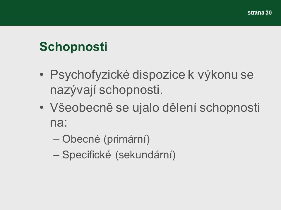 Schopnosti Psychofyzické dispozice k výkonu se nazývají schopnosti. Všeobecně se ujalo dělení schopnosti na: –Obecné (primární) –Specifické (sekundárn