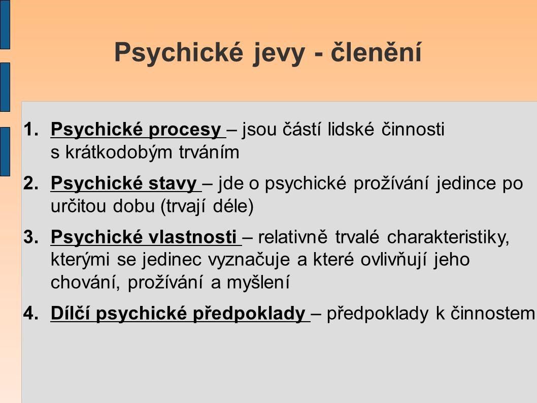 Psychické jevy - členění 1.Psychické procesy – jsou částí lidské činnosti s krátkodobým trváním 2.Psychické stavy – jde o psychické prožívání jedince po určitou dobu (trvají déle) 3.Psychické vlastnosti – relativně trvalé charakteristiky, kterými se jedinec vyznačuje a které ovlivňují jeho chování, prožívání a myšlení 4.Dílčí psychické předpoklady – předpoklady k činnostem