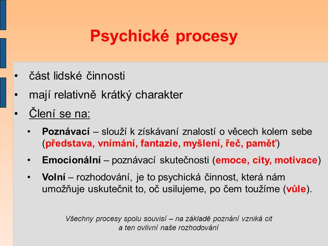 Psychické procesy část lidské činnosti mají relativně krátký charakter Člení se na: Poznávací – slouží k získávaní znalostí o věcech kolem sebe (představa, vnímání, fantazie, myšlení, řeč, paměť) Emocionální – poznávací skutečnosti (emoce, city, motivace) Volní – rozhodování, je to psychická činnost, která nám umožňuje uskutečnit to, oč usilujeme, po čem toužíme (vůle).
