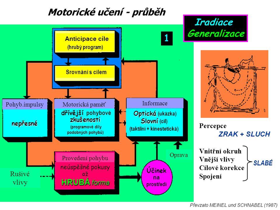 Motorické učení - průběh Převzato MEINEL und SCHNABEL (1987) Percepce ZRAK + SLUCH Vnitřní okruh Vnější vlivy Cílové korekce Spojení SLABÉ Informace Motorická paměťPohyb.impulsy Provedení pohybu Rušivé vlivy Oprava Anticipace cíle (hrubý program) Srovnání s cílem Optická Optická (ukázka) Slovní Slovní (cíl) (taktilní + kinestetická) dřívější pohybovézkušenosti (programové díly podobných pohybů) nepřesné neúspěšné pokusy až HRUBÁ forma Účinek na prostředí 1 Iradiace Generalizace