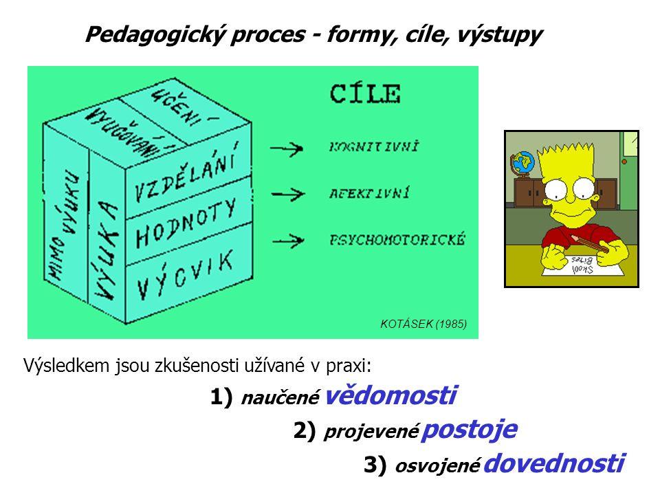 Výsledkem jsou zkušenosti užívané v praxi: 1) naučené vědomosti 2) projevené postoje 3) osvojené dovednosti KOTÁSEK (1985) Pedagogický proces - formy, cíle, výstupy