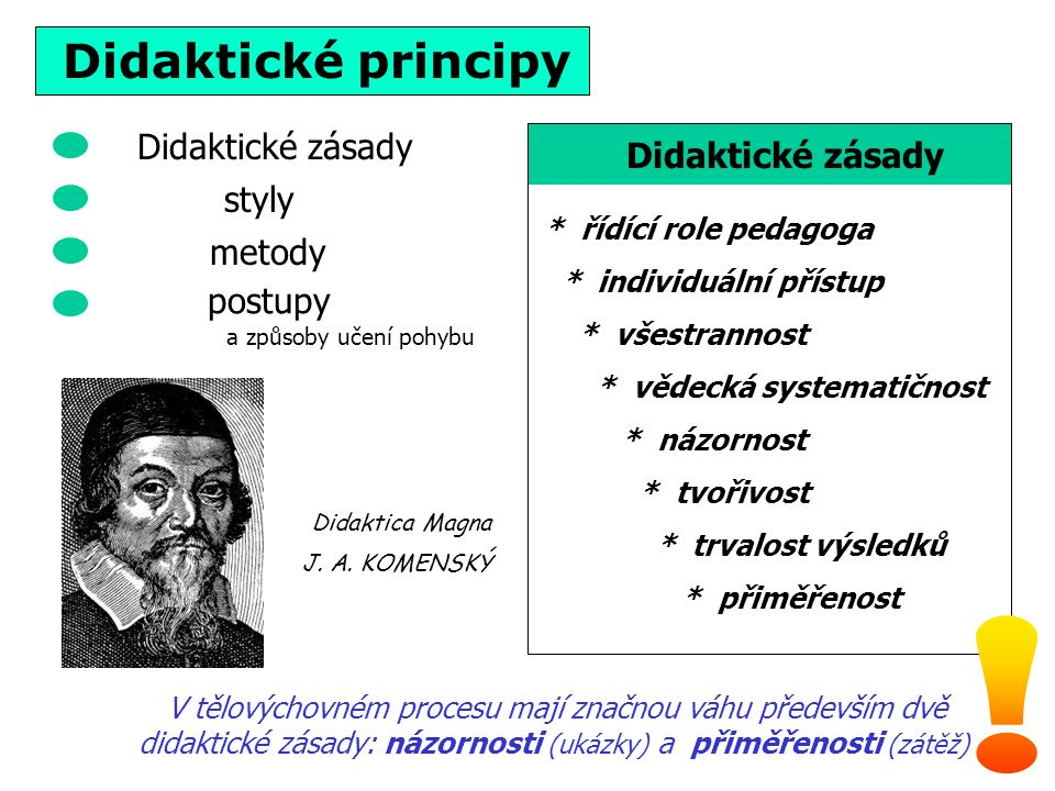 Didaktické principy * řídící role pedagoga * individuální přístup * všestrannost * vědecká systematičnost * názornost * tvořivost * trvalost výsledků * přiměřenost Didaktické zásady V tělovýchovném procesu mají značnou váhu především dvě didaktické zásady: názornosti (ukázky) a přiměřenosti (zátěž) Didaktické zásady styly metody Didaktica Magna J.