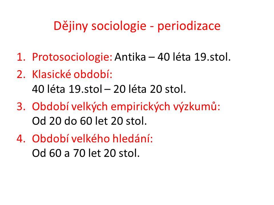 Dějiny sociologie – periodizace A.Období velkého hledání B.Období velkých empirických výzkumů C.Období klasické sociologie D.Protosociologie 1.Antika – 40 léta 19.stol.