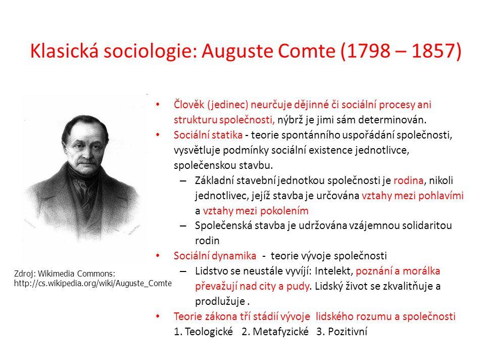 Klasická sociologie: Auguste Comte (1798 – 1857) Tři stádia vývoje lidského rozumu a společnosti: – Teologické Od počátku lidstva až po středověk: snaha o absolutní poznání, prostřednictvím nadpřirozených sil.