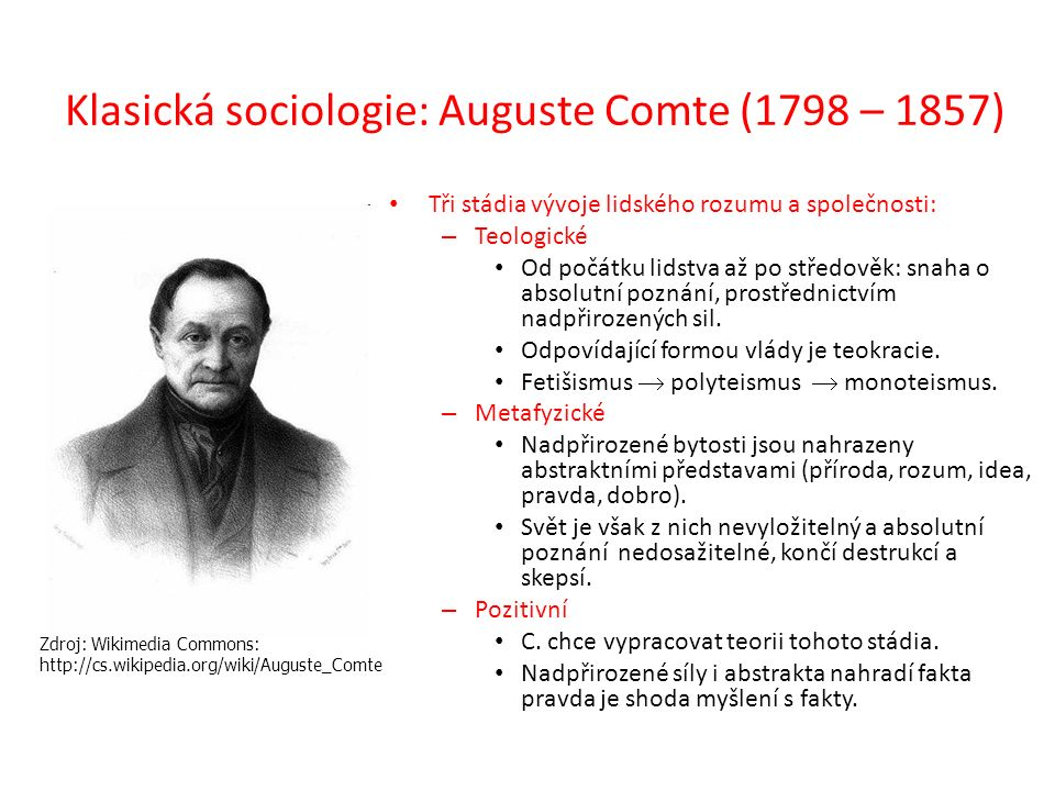 Klasická sociologie: Auguste Comte (1798 – 1857) Tři stádia vývoje lidského rozumu a společnosti: – Teologické Od počátku lidstva až po středověk: sna