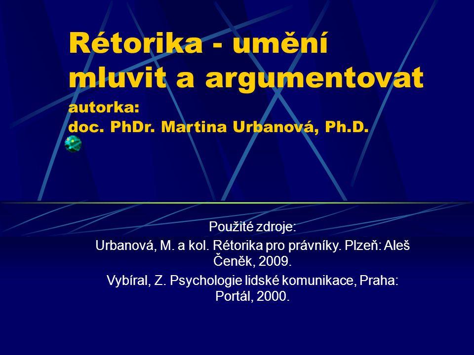 Rétorika - umění mluvit a argumentovat autorka: doc. PhDr. Martina Urbanová, Ph.D. Použité zdroje: Urbanová, M. a kol. Rétorika pro právníky. Plzeň: A