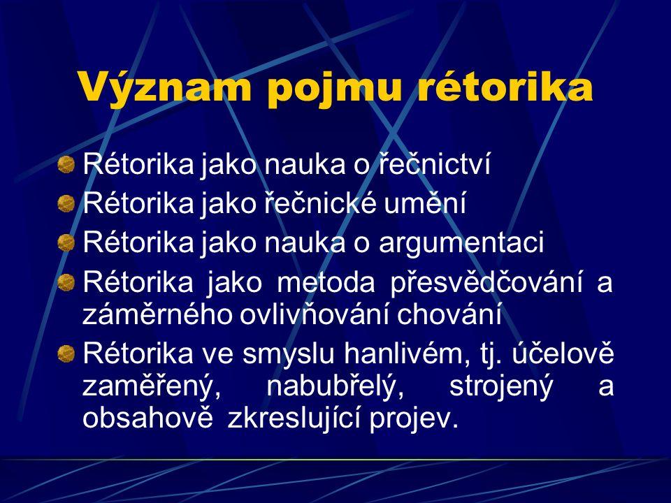 Význam pojmu rétorika Rétorika jako nauka o řečnictví Rétorika jako řečnické umění Rétorika jako nauka o argumentaci Rétorika jako metoda přesvědčován