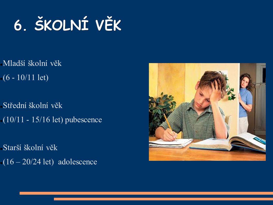 6. ŠKOLNÍ VĚK Mladší školní věk (6 - 10/11 let) Střední školní věk (10/11 - 15/16 let) pubescence Starší školní věk (16 – 20/24 let) adolescence
