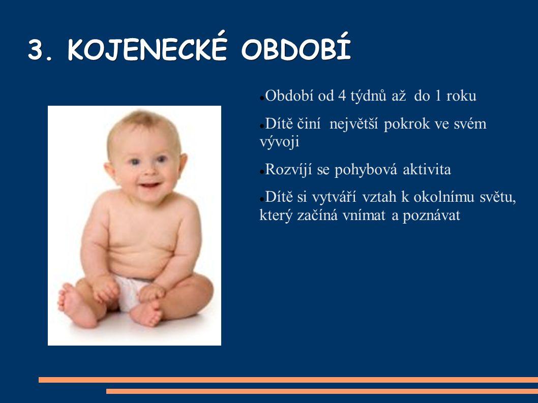 3. KOJENECKÉ OBDOBÍ Období od 4 týdnů až do 1 roku Dítě činí největší pokrok ve svém vývoji Rozvíjí se pohybová aktivita Dítě si vytváří vztah k okoln