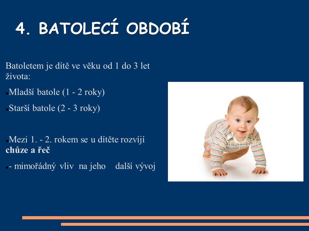 4. BATOLECÍ OBDOBÍ Batoletem je dítě ve věku od 1 do 3 let života: Mladší batole (1 - 2 roky) Starší batole (2 - 3 roky) Mezi 1. - 2. rokem se u dít