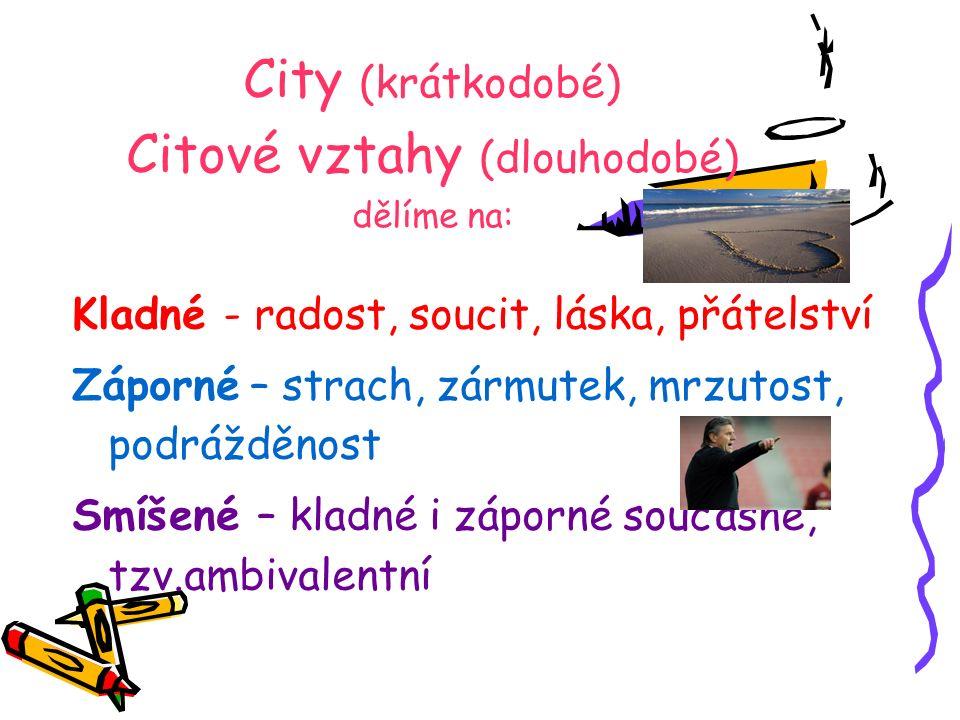 City (krátkodobé) Citové vztahy (dlouhodobé) dělíme na: Kladné - radost, soucit, láska, přátelství Záporné – strach, zármutek, mrzutost, podrážděnost