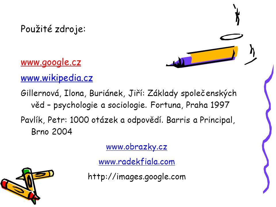 Použité zdroje: www.google.cz www.wikipedia.cz Gillernová, Ilona, Buriánek, Jiří: Základy společenských věd – psychologie a sociologie. Fortuna, Praha