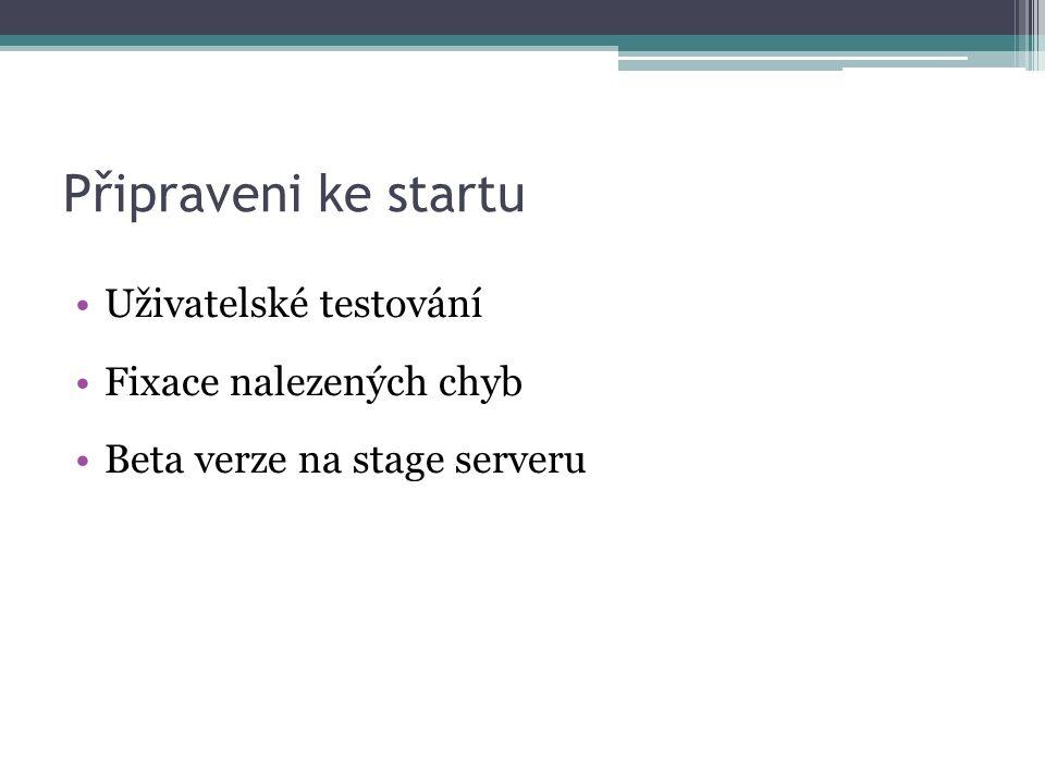 Připraveni ke startu Uživatelské testování Fixace nalezených chyb Beta verze na stage serveru