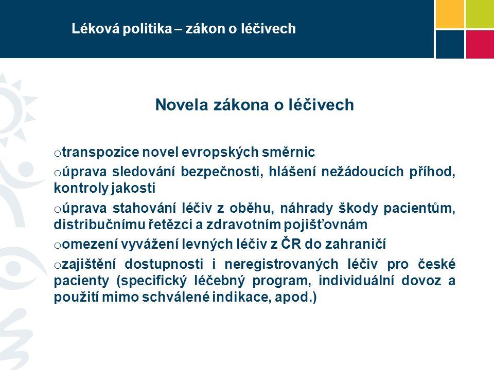 Léková politika – zákon o veřejném zdrav.