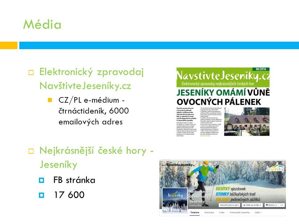 Média  Elektronický zpravodaj NavštivteJeseníky.cz CZ/PL e-médium - čtrnáctideník, 6000 emailových adres  Nejkrásnější české hory - Jeseníky  FB stránka  17 600
