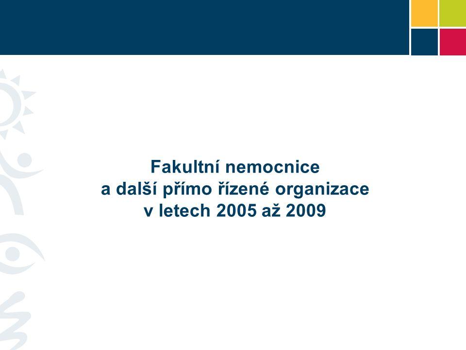 Fakultní nemocnice a další přímo řízené organizace v letech 2005 až 2009