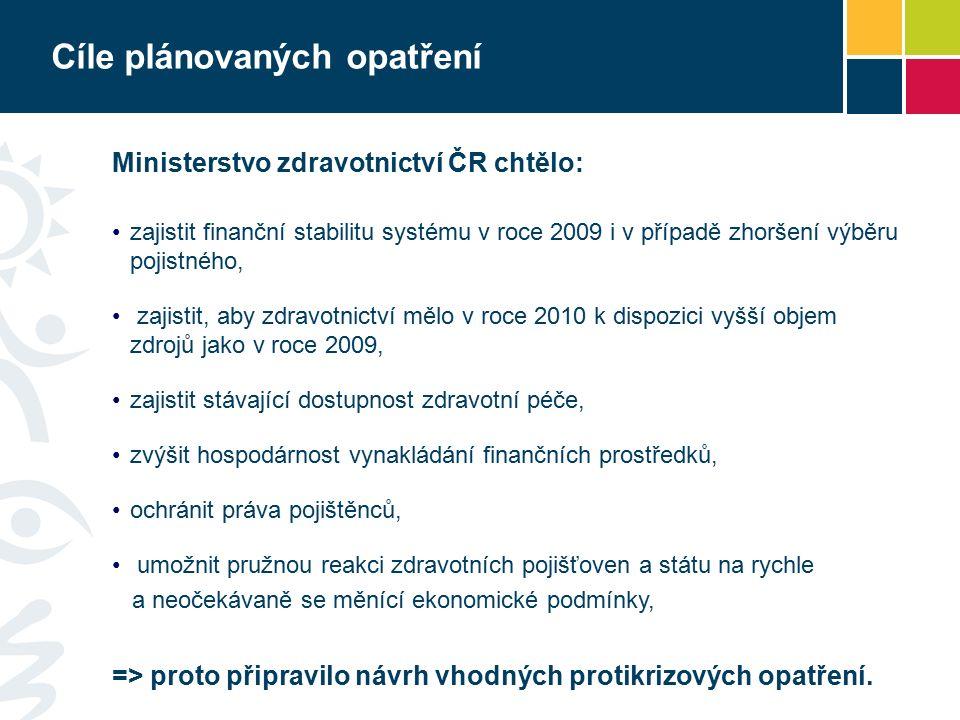 Cíle plánovaných opatření Ministerstvo zdravotnictví ČR chtělo: zajistit finanční stabilitu systému v roce 2009 i v případě zhoršení výběru pojistného, zajistit, aby zdravotnictví mělo v roce 2010 k dispozici vyšší objem zdrojů jako v roce 2009, zajistit stávající dostupnost zdravotní péče, zvýšit hospodárnost vynakládání finančních prostředků, ochránit práva pojištěnců, umožnit pružnou reakci zdravotních pojišťoven a státu na rychle a neočekávaně se měnící ekonomické podmínky, => proto připravilo návrh vhodných protikrizových opatření.