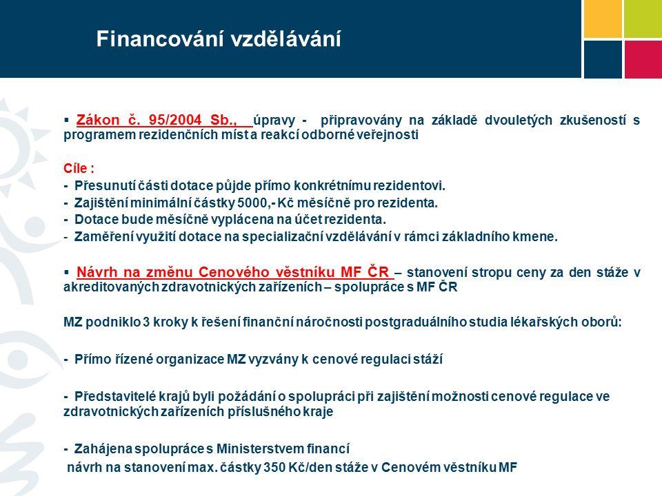 Financování vzdělávání  Zákon č. 95/2004 Sb., úpravy - připravovány na základě dvouletých zkušeností s programem rezidenčních míst a reakcí odborné v
